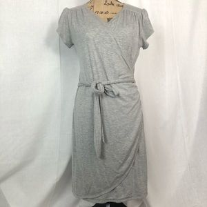 Fantastic Fawn Gray Stretch Wrap Front Tie Dress